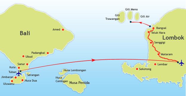 Route Map Bali to Gili Meno