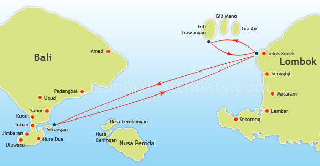 Serangan to Lombok and Gili Trawangan Route Map